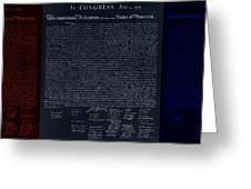 The Declaration Of Independence In Negative Red White And Blue Greeting Card by Rob Hans