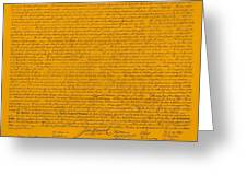 The Declaration Of Independence In Orange Greeting Card by Rob Hans
