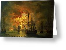The Destruction Of The Turkish Fleet At The Bay Of Chesma Greeting Card by Jacob Philippe Hackert