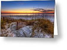 The Dunes at Sunset Greeting Card by Debra and Dave Vanderlaan