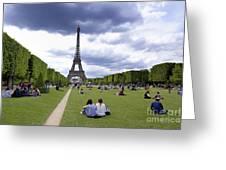 The Eiffel Tower And The Champ De Mars. Paris. France Greeting Card by Bernard Jaubert