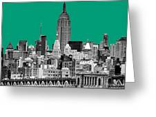 The Empire State Building Pantone Emerald Greeting Card by John Farnan