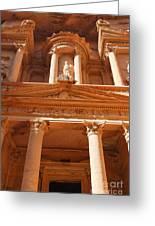 The Facade Of Al Khazneh In Petra Jordan Greeting Card by Robert Preston