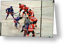 The Faceoff Greeting Card by David Rucker