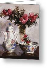 The Famille Rose Coffee Pot Greeting Card by Francis Campbell Boileau Cadell