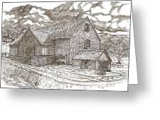 The Family Farm - Sepia Ink Greeting Card by Carol Wisniewski
