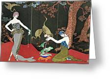 The Fashion For Lacquer Greeting Card by Georges Barbier