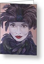 The Feathered Lady Greeting Card by Leonard Filgate