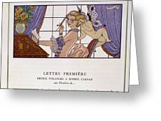 The First Letter Greeting Card by Georges Barbier