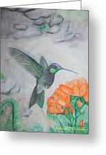The Flight Of A Hummingbird Greeting Card by Rebecca Christine Cardenas