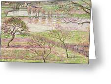 The Flood At Eragny Greeting Card by Camille Pissarro