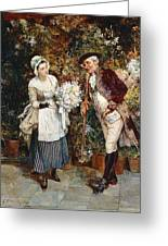 The Flower Girl Greeting Card by Henry Gillar Glindoni