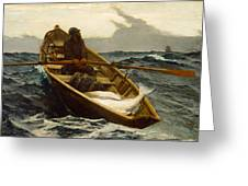 The Fog Warning Greeting Card by Winslow Homer