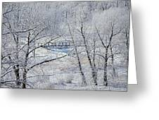 The Frozen Bridge Greeting Card by Maria Angelica Maira