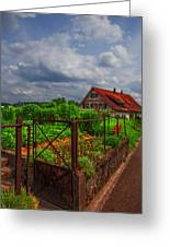 The Garden Gate Greeting Card by Debra and Dave Vanderlaan