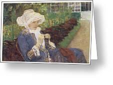 The Garden Greeting Card by Mary Cassatt