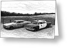 The General Lee And Barney Fife's Police Car Greeting Card by Janet King