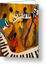 The Get-down Jazz Quintet Greeting Card by Larry Martin