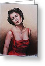 The Glamour Days Elizabeth Taylor Greeting Card by Andrew Read