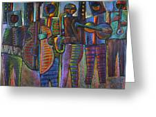 The Gods Of Music Come To New York Greeting Card by Gerry High