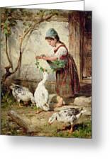 The Goose Girl Greeting Card by Antonio Montemezzano