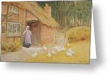 The Goose Girl Greeting Card by Arthur Claude Strachan