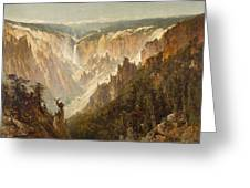 The Grand Canyon Of The Yellowstone Greeting Card by Thomas Hill