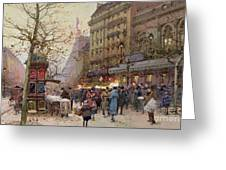 The Great Boulevards Greeting Card by Eugene Galien-Laloue