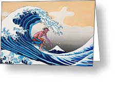 The Great Wave Amadeus Series Greeting Card by Dominique Amendola