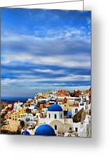 The Greek Isles-oia Greeting Card by Tom Prendergast