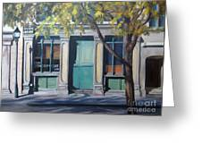 The Green Door  Old Montreal Greeting Card by Rita-Anne Piquet