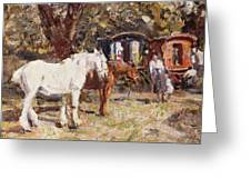 The Gypsy Encampment Greeting Card by Harry Fidler