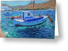 The Harbor  Tinos Greeting Card by Andrew Macara