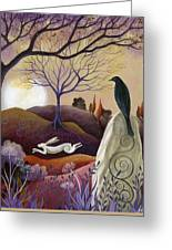 The Hare And Crow Greeting Card by Amanda Clark