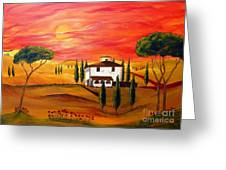 The Heat Of Tuscany Greeting Card by Christine Huwer