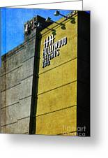 The Hollywood Heights Hotel Greeting Card by Janice Rae Pariza