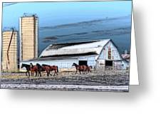 The Horse Barn Greeting Card by Cheryl Cencich