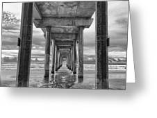 The Iconic Scripps Pier Greeting Card by Larry Marshall