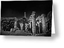 The Karnak Temple BW Greeting Card by Erik Brede