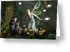 The Knight And The Faerie Greeting Card by Daniel Eskridge