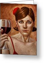 The Lady Red Greeting Card by Mark Zelmer
