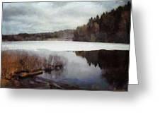 The Lake In My Little Village Greeting Card by Gun Legler