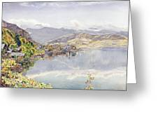 The Lake Of Lucerne, Mount Pilatus Greeting Card by John William Inchbold