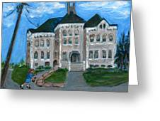 The Last Bell At West Hill School Greeting Card by Betty Pieper