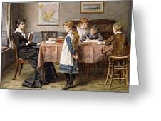 The Lesson Greeting Card by  George Goodwin Kilburne