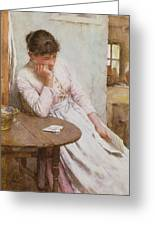 The Letter  Greeting Card by Walter Langley