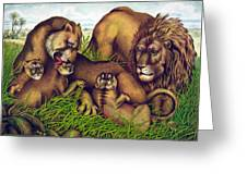 The Lion Family Greeting Card by Nomad Art And  Design