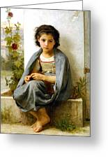 The Little Knitter Greeting Card by William Bouguereau