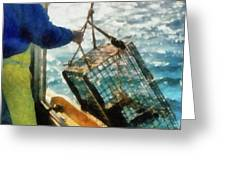 The Lobsterman Greeting Card by Michelle Calkins