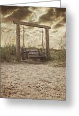 The Lonely Seaside Swing Greeting Card by Angie Milam